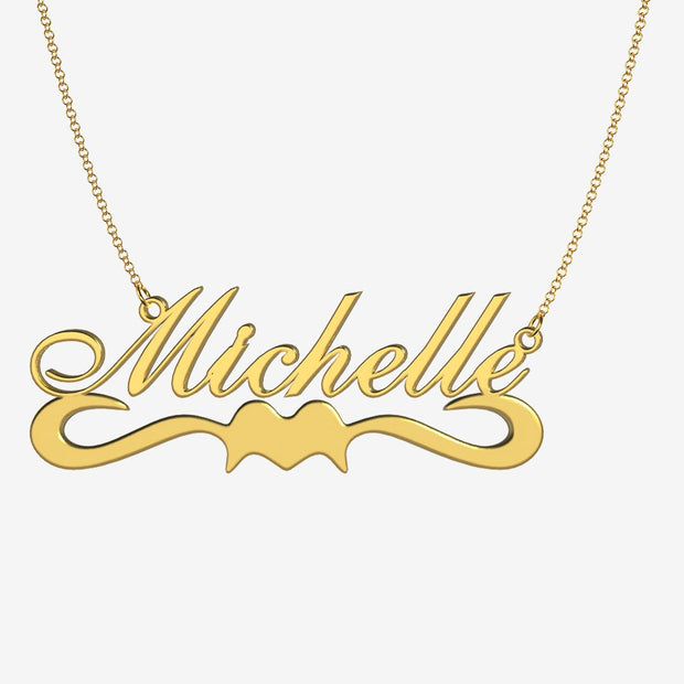 Michelle - Handmade Personalized Ribbon Style Name Necklace