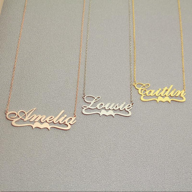 Crystal - Handmade Personalized Ribbon Style Name Necklace