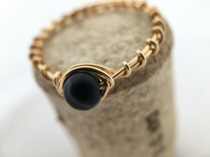 Black Agate Wire Wrapped Ring