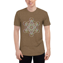 Load image into Gallery viewer, Metatron's Cube Glitch Unisex Tri-Blend Track Shirt