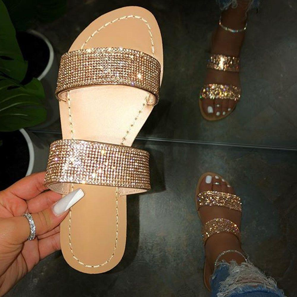 Flat With Rhinestone Slip-On Flip Flop Rubber Summer Slippers