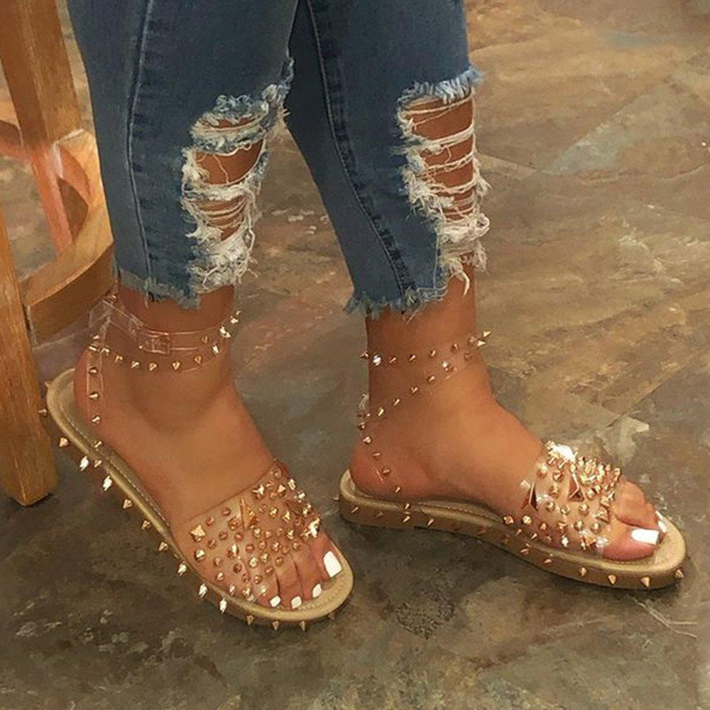 Open Toe Flat With Ankle Strap Line-Style Buckle Rivet Sandals
