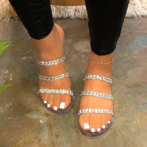Flip Flop Slip-On Rhinestone Flat With Summer Slippers