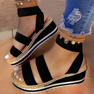 Elastic Band Ankle Strap Wedge Heel Open Toe Plain Platform Sandals