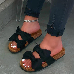 Flip Flop Flat With Slip-On Bow Slippers