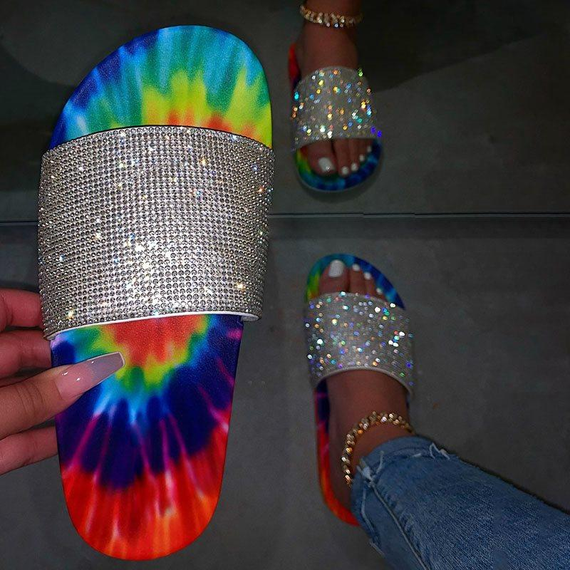 Rhinestone Slip-On Flat With Flip Flop Summer Casual Slippers