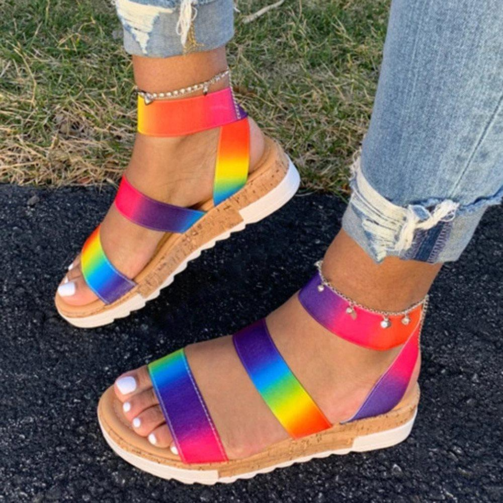 Open Toe Slip-On Casual Color Block Sandals