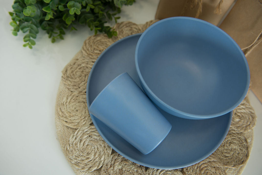 Bamboo Dinnerware Set - Ocean Blue
