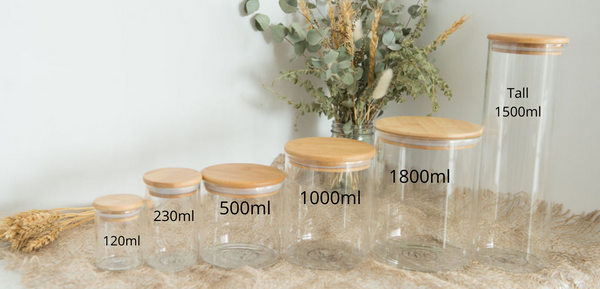 Medium Pack - Bamboo Lids, Glass Storage Jars