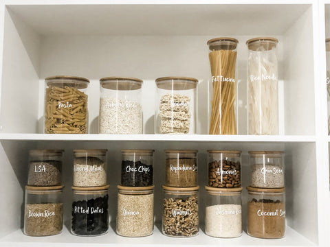 Large Pack - Bamboo Lids, Glass Storage Jars