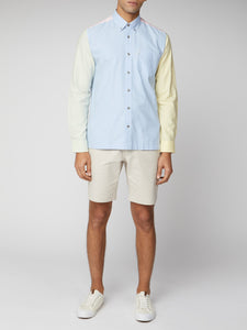 Long-Sleeve Colour Block Oxford Shirt