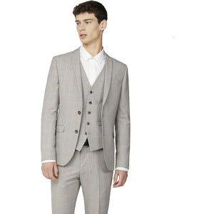 Grey Orange Prince of Wales Check Blazer