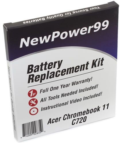 Acer C720 Chromebook Battery Replacement Kit with Tools, Video Instructions and Extended Life Battery - NewPower99 USA