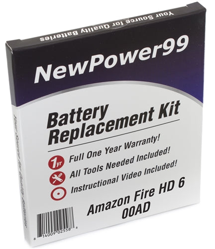 Amazon Fire HD 6 00AD Battery Replacement Kit with Tools, Video Instructions and Extended Life Battery - NewPower99 USA