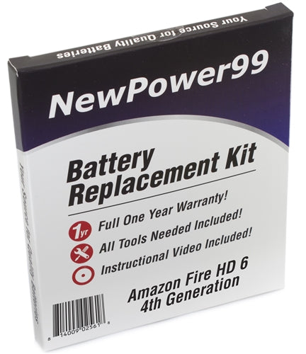 Amazon Fire HD 6 4th Generation Battery Replacement Kit with Tools, Video Instructions and Extended Life Battery - NewPower99 USA