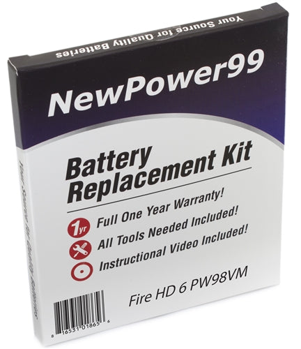 Amazon Fire HD 6 PW98VM Battery Replacement Kit with Tools, Video Instructions and Extended Life Battery - NewPower99 USA