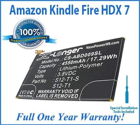 Amazon Kindle Fire HDX 7 Battery Replacement Kit with Special Installation Tools, Extended Life Battery and Full One Year Warranty - NewPower99 USA