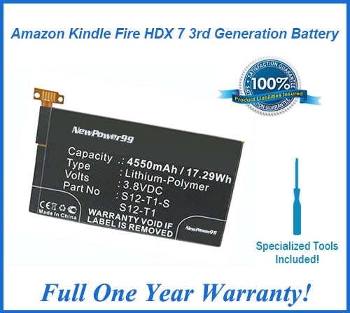 Amazon Kindle Fire HDX 7 3rd Generation Battery Replacement Kit with Special Installation Tools, Extended Life Battery and Full One Year Warranty - NewPower99 USA