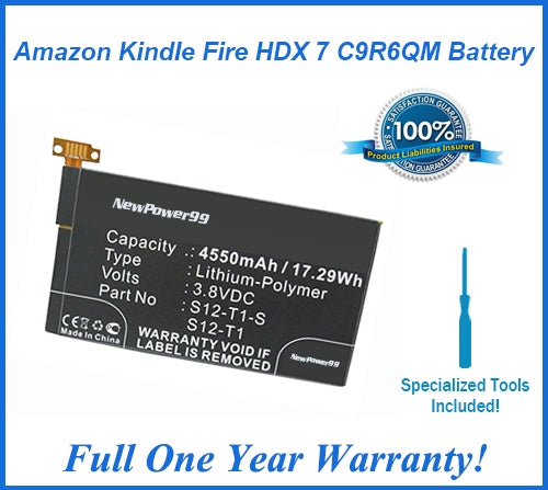 Amazon Kindle Fire HDX 7 C9R6QM Battery Replacement Kit with Special Installation Tools, Extended Life Battery and Full One Year Warranty - NewPower99 USA