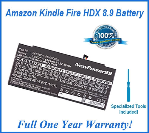 Amazon Kindle Fire HDX 8.9 2013 Battery Replacement Kit with Special Installation Tools, Extended Life Battery and Full One Year Warranty - NewPower99 USA