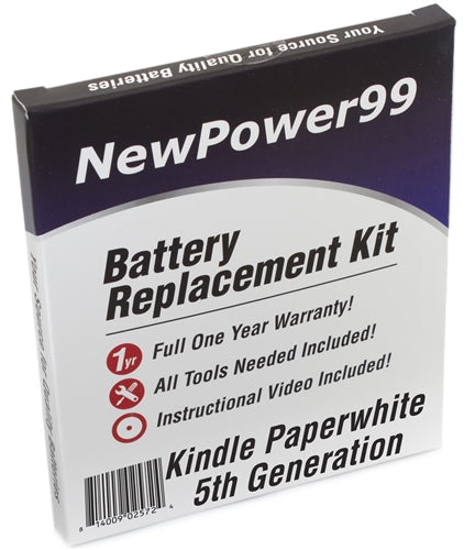 Amazon Kindle Paperwhite 5th Generation Battery Replacement Kit with Tools, Video Instructions and Extended Life Battery - NewPower99 USA