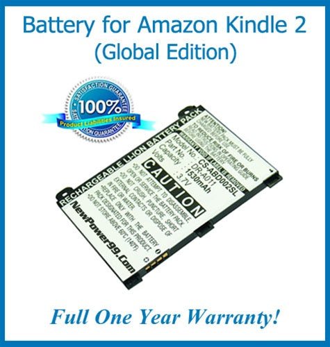 The Amazon Kindle 2 (Global Edition) Battery Replacement Kit with Tools, Video Instructions and Extended Life Battery - NewPower99 USA