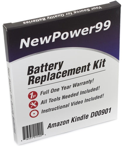 Amazon Kindle 3 Model D00901 Battery Replacement Kit with Tools, Video Instructions and Extended Life Battery - NewPower99 USA