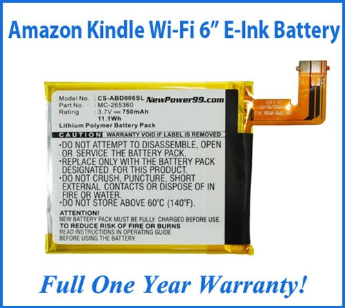 "Amazon Kindle Wi-Fi 6"" E Ink Display (Kindle 4) Battery Replacement Kit with Tools, Video Instructions, Extended Life Battery and 1 Yr. Warranty - NewPower99 USA"