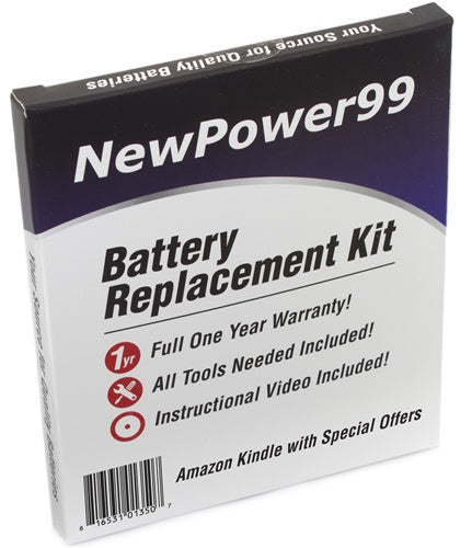 "Amazon Kindle Wi-Fi 6"" with Special Offers (Kindle 4) Battery Replacement Kit with Tools, Video Instructions, Extended Life Battery and 1 Yr. Warranty - NewPower99 USA"