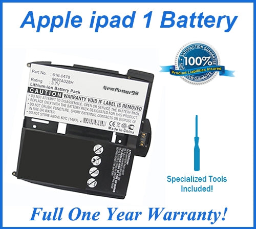 Apple iPad 1 Battery Replacement Kit with Special Installation Tools, Extended Life Battery and Full One Year Warranty - NewPower99 USA
