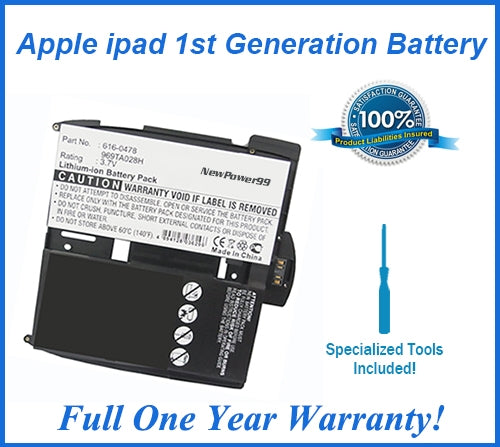 Apple iPad 1st Generation Battery Replacement Kit with Special Installation Tools, Extended Life Battery and Full One Year Warranty - NewPower99 USA