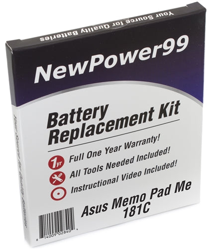 Asus Memo Pad Me181C Battery Replacement Kit with Tools, Video Instructions and Extended Life Battery - NewPower99 USA