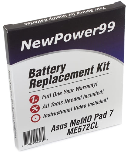 Asus MeMO Pad 7 ME572CL Battery Replacement Kit with Tools, Video Instructions and Extended Life Battery - NewPower99 USA