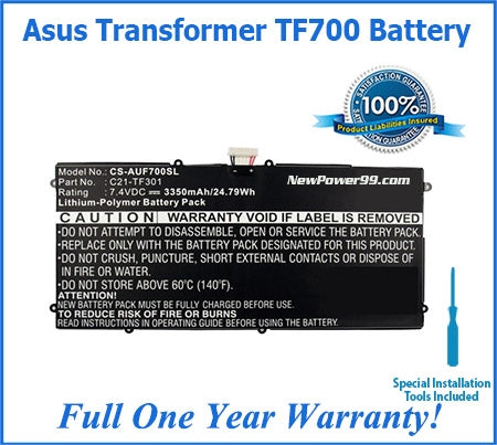 Asus Transformer Pad TF700 Battery Replacement Kit with Tools, Extended Life Battery and Full One Year Warranty - NewPower99 USA