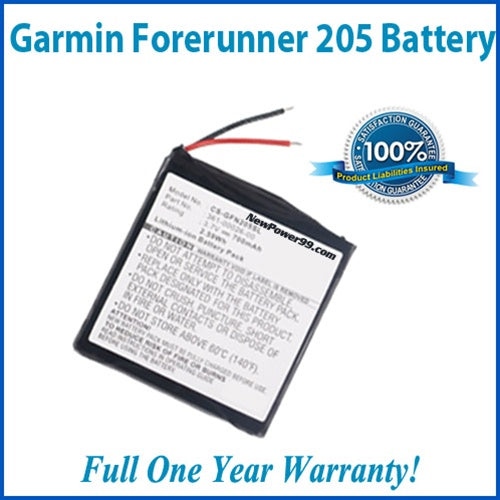 Garmin Forerunner 205 Extended Life Battery and Full One Year Warranty - NewPower99 USA