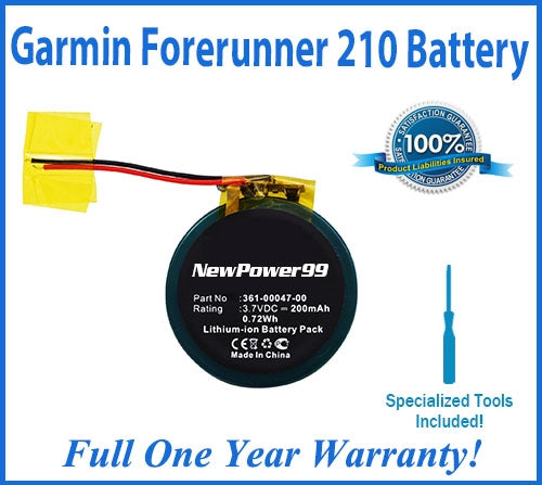 Garmin Forerunner 210 Battery Replacement Kit with Special Installation Tools, Extended Life Battery and Full One Year Warranty - NewPower99 USA