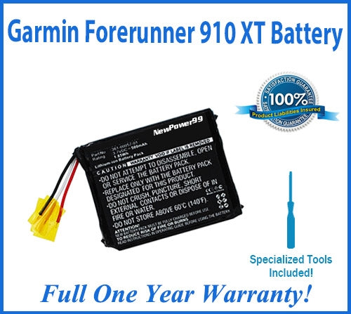 Garmin Forerunner 910XT Battery Replacement Kit with Special Installation Tools, Extended Life Battery and Full One Year Warranty - NewPower99 USA