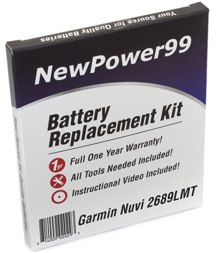 Garmin Nuvi 2689LMT Battery Replacement Kit with Tools, Video Instructions and Extended Life Battery - NewPower99 USA