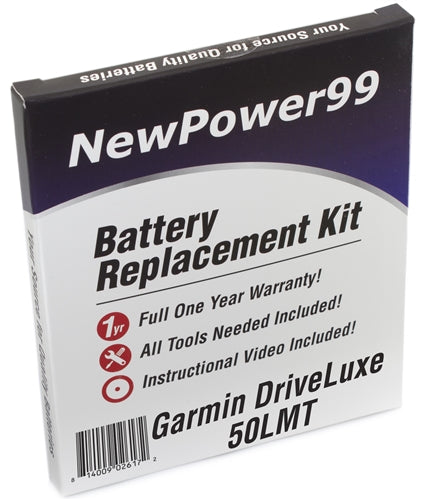 Garmin DriveLuxe 50LMT Battery Replacement Kit with Tools, Video Instructions and Extended Life Battery - NewPower99 USA