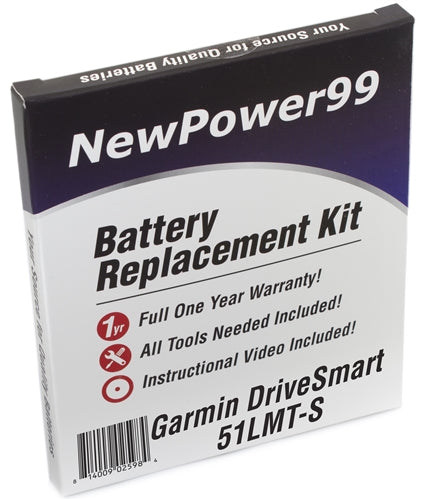 Garmin DriveSmart 51 LMT-S Battery Replacement Kit with Tools, Video Instructions and Extended Life Battery - NewPower99 USA