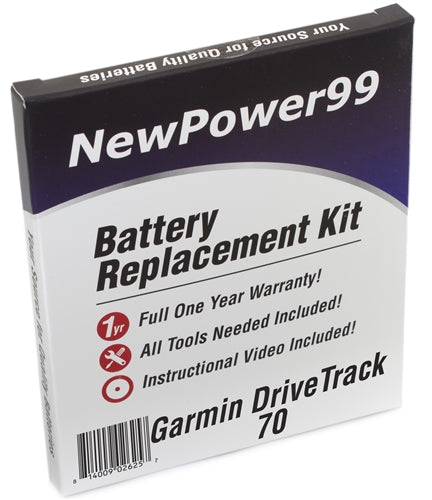 Garmin DriveTrack 70 Battery Replacement Kit with Tools, Video Instructions and Extended Life Battery - NewPower99 USA