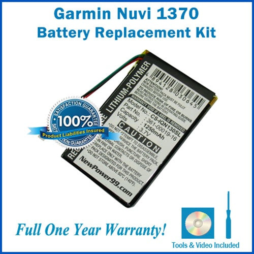 Garmin Nuvi 1370 Battery Replacement Kit with Tools, Video Instructions and Extended Life Battery - NewPower99 USA