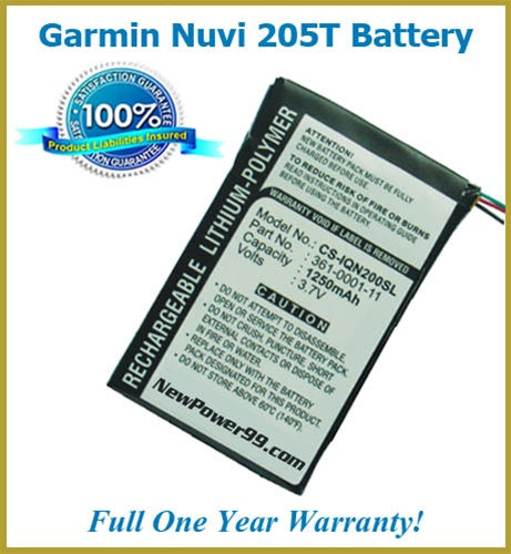 Extended Life Battery For The Garmin Nuvi 205T GPS - NewPower99 USA