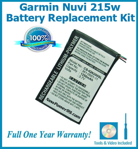 Garmin Nuvi 215W Battery Replacement Kit with Tools, Video Instructions and Extended Life Battery - NewPower99 USA