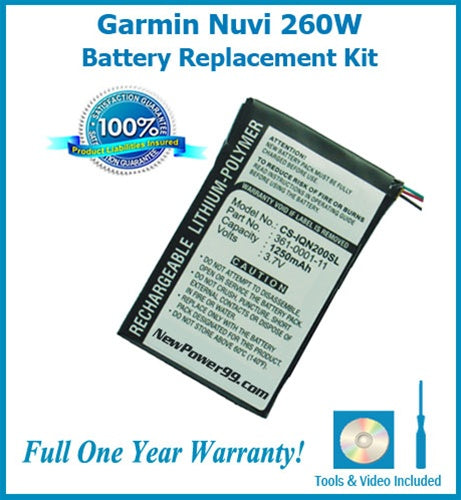 Garmin Nuvi 260W Battery Replacement Kit with Tools, Video Instructions and Extended Life Battery - NewPower99 USA