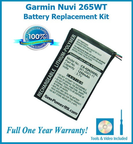 Garmin Nuvi 265WT Battery Replacement Kit with Tools, Video Instructions and Extended Life Battery - NewPower99 USA