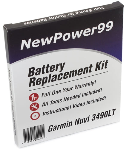 Garmin Nuvi 3490LT Battery Replacement Kit with Tools, Video Instructions and Extended Life Battery - NewPower99 USA