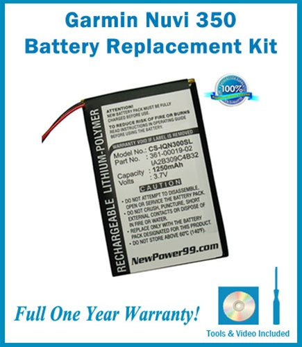 Garmin Nuvi 350 Battery Replacement Kit with Tools, Video Instructions and Extended Life Battery - NewPower99 USA