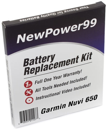 Garmin Nuvi 650 Battery Replacement Kit with Tools, Video Instructions and Extended Life Battery - NewPower99 USA