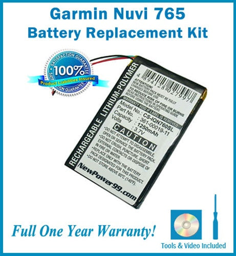 Garmin Nuvi 765 Battery Replacement Kit with Tools, Video Instructions and Extended Life Battery - NewPower99 USA